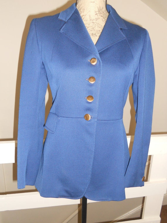 Equestrian Blazer Jacket Blue with brass buttons Small