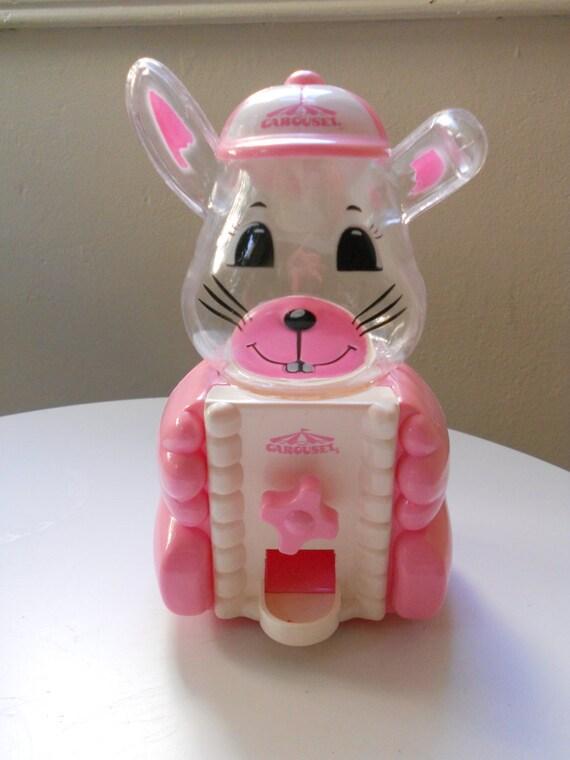 Vintage Bank Gumball Machine Carousel Pink Easter Bunny  Baby Girl Gift