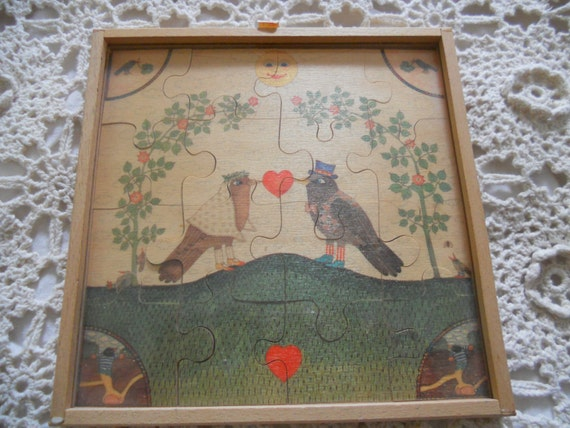 Marriage Puzzle Love Birds Wood Folk Art Wedding by Sevi Italy