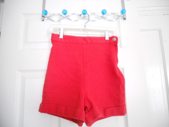 High Waisted Shorts Summer Sale Denim 70's Red Stretch Cuffed  Side Zip Retro Hipster Disco