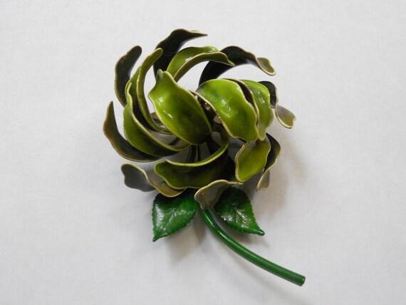Enamel Flower Pin Mid Century Modern Madmen Jewelry