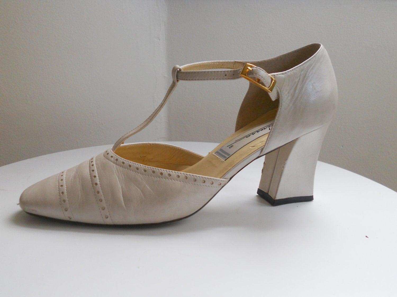 Wedding High Heels Ivory: Vintage Ivory Shoes Heels Bone Leather Pumps T-Strap Bridal