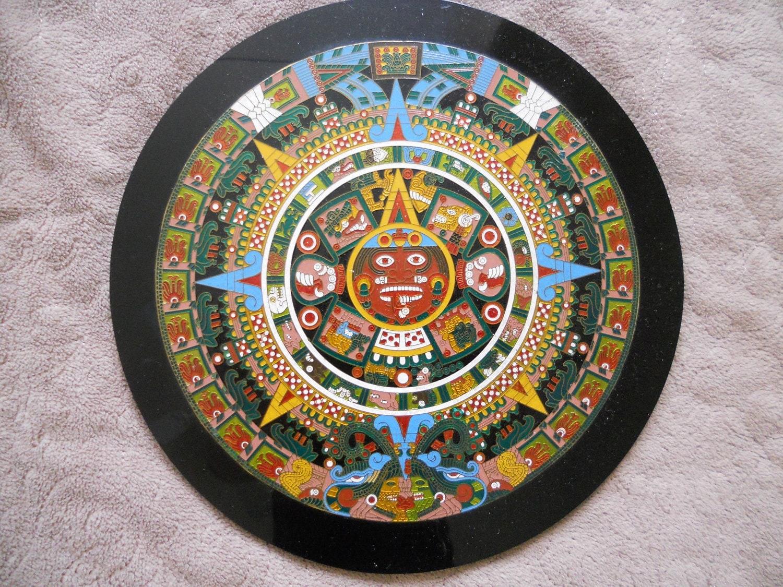 Ancient Aztec Calendar Engraved Art Sun Stone Painted Metal