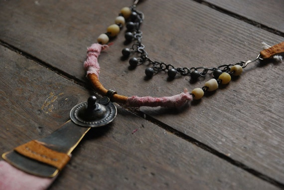 timaeus - assemblaged stitched necklace