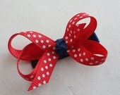 Infant Teeny Red, White, & Blue Twisted Boutique Bow - Baby Bow Clip - 4th of July
