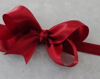 Baby Bow Headband - Large Sherry Red Satin Bow Headband -Baby Headband - Girls Headband - Great Photo Prop