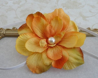 Baby Headband... Yellow Orange Flower Headband....Infant Headband... Girls Headband... Great Photo Prop