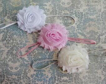 Set of Chiffon Shabby Rosette Headbands,  Newborn Infant Headband, Photo Prop,  White, Pink, Ivory Headbands...  Baby Girls Headbands