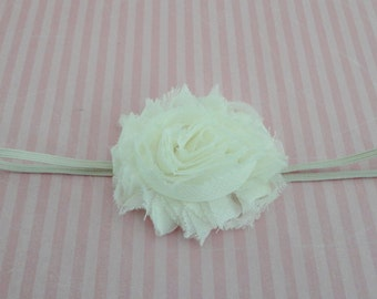 Baby Headband -  Ivory Shabby Chiffon Headband - Newborn Headband -  Infant Headband - Girls Headband