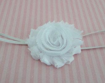 Baby Girls White Shabby Frayed Chiffon Rosette Headband  Newborn Infant Headband - Girls Headband - Photo Prop