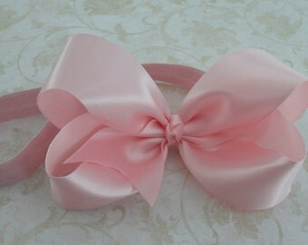 Large Pink Satin Twisted Boutique Bow Headband - Baby Girl Headband - Girls Headband