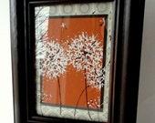 Original Framed Painted Dandelions on Orange, Home Decor, Gray and White, Gift Wrap, Art, Orange and Gray, Black frame