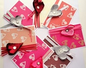 Valentine Cards Set, Happy Valentine's Day Card Pack, Simply Adored, Pink hearts, for her, Red Hearts, Ribbon, Satin, Adore
