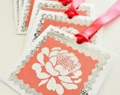 HANDMADE GIFT TAGS Set of 6, Peony Peonies Flower, Coral Silver White, Embossed Stamp, Coral Ribbon, White Glitter Flower