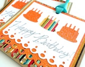 Happy Birthday Gift Tags, Orange, Aqua, Turquoise, 3, Sparkle Glitter, Brown Kraft Tags, Hole Punch, Birthday Cake Candles