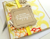 SUMMER Happy Sewn Greeting Card, Yellow Fabric Ruching Ruffle Bunting Card, Embossed Stamped Brown Kraft Card