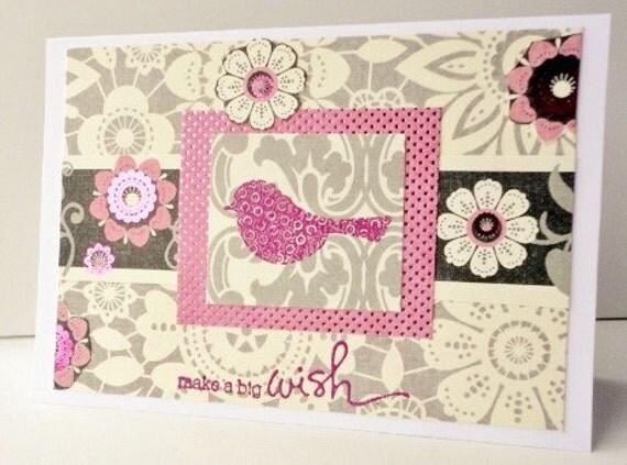 Make A Wish Happy Birthday greeting Card for her, Pink Gray, Bird, Stamp embossed, Metallic, Cream, Flowers
