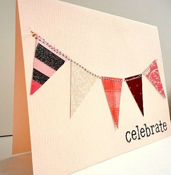 Summer Bunting Flag Banner Sewn Greeting Card with Celebrate Embossed Stamp, Blank, Pink Brown, Glitter
