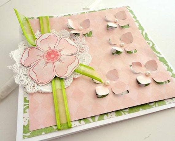 Pink and Green Flower blank inside Greeting Card, Spring Pastels, Pale Soft, Lime, Embossed, Pearls, White Lace Doily, Ribbon