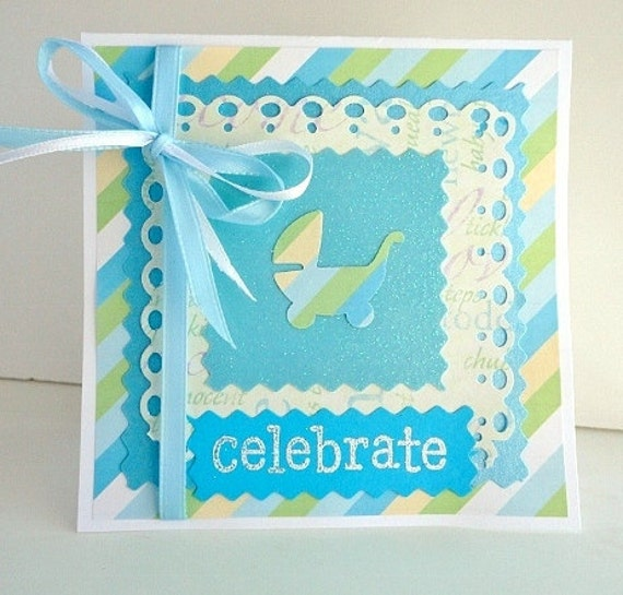 New Baby Boy Greeting Card, Blue and Green, Baby Blue, Celebrate, Baby Carriage, Stamp Embossed, Baby Shower