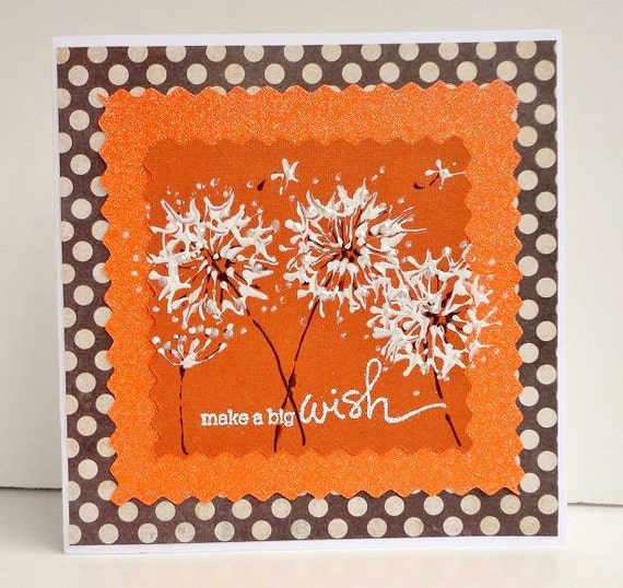 Painted Dandelion HAPPY BIRTHDAY Greeting Card, Orange and Brown White Polka Dot, Sparkle Glitter, Make a Wish