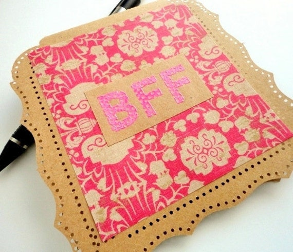 BFF Greeting Card, Blank Inside, Brown Kraft Paper, Pink Floral, Hole Punch, Boho, Bohemian, Stamp Embossed, Best Friends Forever
