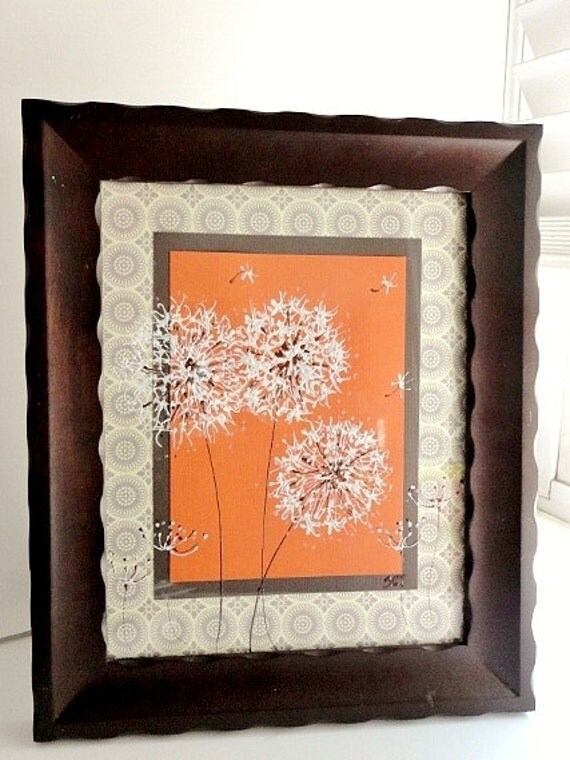 Original Framed Painted Dandelions on Orange, Home Decor, Gray, White, Art, Gift, Orange and Gray, Espresso Brown frame, 8x10