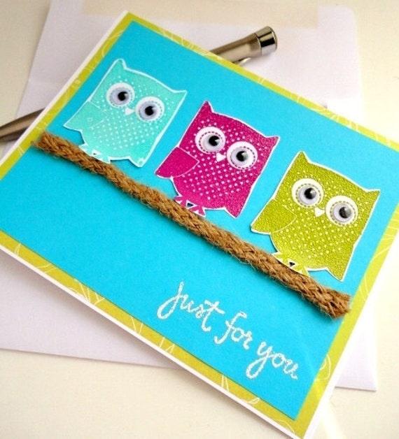 Summer Cute OWL Greeting Card, Blank Inside, Stamp Embossed, Aqua Blue Turquoise, Googly Eyes, Twig Branch, Neon