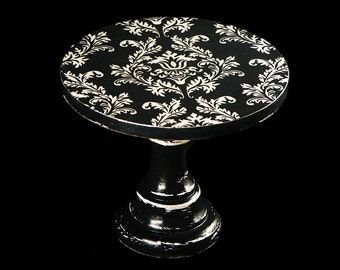"""Cake stand -damask - black and white - decoupaged - vintage look - small - 6"""" - wooden - cupcake pedestal - in decorative box"""