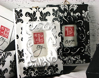 Christmas decor - wall decor - damask - black and white - Peace and Joy  - sign - handmade - in decorative box