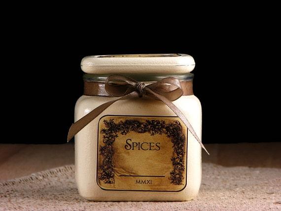 RESERVED - Vintage look - glass - spice jars - beige - natural - brown - set
