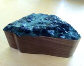 Hand Carved Wooden Box with Lapidary Stone Lid - green poppy jasper