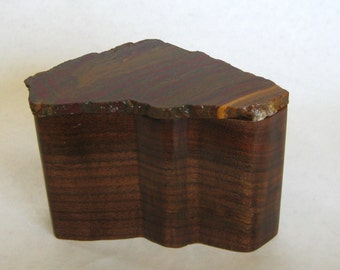 Hand Carved Wooden Box with Lapidary Stone Lid