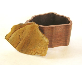 Hand Carved Wooden Box with Lapidary Stone Lid - picture rock