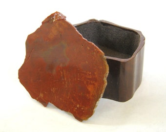 Hand Carved Wooden Box with Lapidary Stone Lid - red