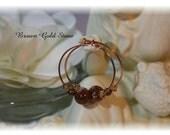 Bohemian Jewelry / Brown Gold Stone / Hoop Earrings / Copper