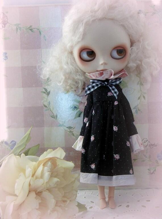 Lovely Black Floral and Ruffles Tea Length Dress for Blythe