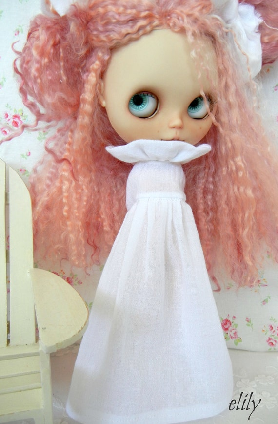 Lovely Long Soft Pin Tucked Cotton Gauze Dress for Blythe Custom Colors and Length