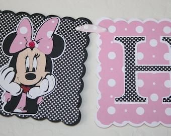 Minnie Mouse Birthday Banner - Party Decoration, HAPPY BIRTHDAY, Disney, Polka Dots, 3 rows