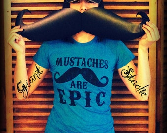Giant Mustache Vinyl Decal-mustache sticker-car decal-vinyl decal-Moustache sticker-The Handlebar - BLACK-mustache party-handlebar mustache