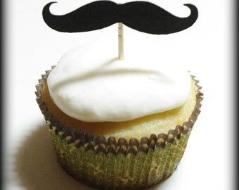 12 Mustache Cupcake Toppers- Mustache on a Stick-Little Man Party-Mustache Party-Cupcake Toppers- The Handlebar-Mustache on a Stick-Props