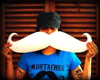 Mustache sticker-Giant Mustache Vinyl Decal - The Handlebar - WHITE mustache- Mustache sticker- car decal- Handlebar Mustache