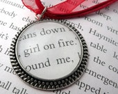 Hunger Games Necklace - Girl On Fire - book page jewelry