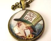 Mad Hatter Necklace - Alice in Wonderland - Woodcut Pictures