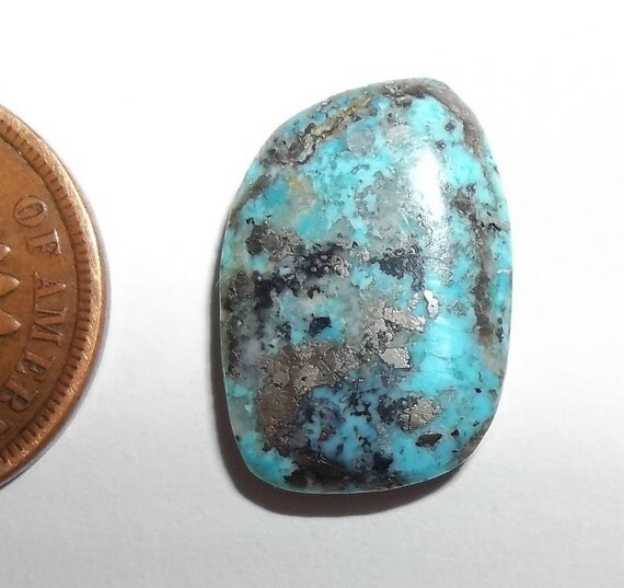Morenci Mine Turquoise Cab, 8.5 Cts. Rare American Turquoise Mine