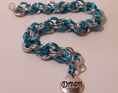 Bright Blue and Silver Spiral Bracelet