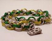 Green, Gold  & Silver Green Bay Bracelet