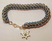 Ice Blue and Silver Full Persian Bracelet with Vintage Snowflake Charm