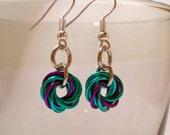 Seafoam and Purple Mobius Earrings