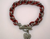 Red and Silver XOXO Bracelet